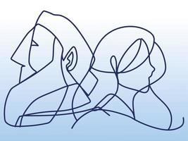 estilo de linha contínua de perfil de homem e mulher maduros vetor