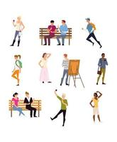 atividades ao ar livre de pessoas, incluindo caminhada, corrida, pintura e muito mais vetor