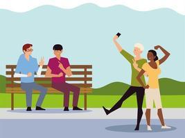 atividade ao ar livre de pessoas, casal tirando selfie e homens sentados no banco do parque vetor