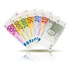 Conjunto de notas de dinheiro do Euro