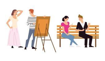 pessoas fazendo atividades diferentes ao ar livre, incluindo pintura e conversação vetor