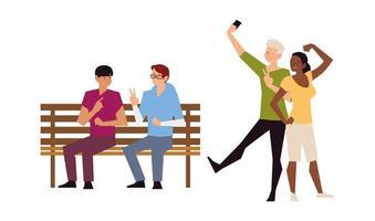 atividades ao ar livre de pessoas, casal tirando selfie e homens sentados no banco vetor