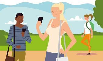 atividade ao ar livre de pessoas, pessoas com smartphone e garota caminhando vetor