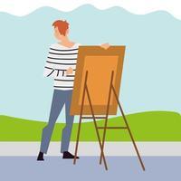 jovem pintando com tela no parque vetor