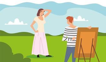 atividades ao ar livre de pessoas, mulher em pé posando e homem pintando vetor