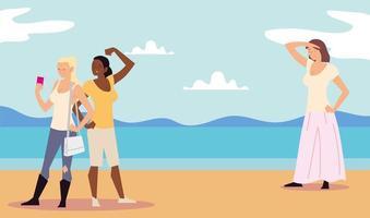 atividades ao ar livre de pessoas, mulheres tirando selfie com o celular e mulher em pé vetor