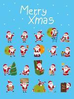 conjunto de cláusulas de papai noel para cartão de natal vetor