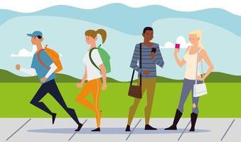 atividades ao ar livre de pessoas, pessoas usando smartphone e outras pessoas caminhando vetor