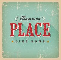 Não há lugar como o cartão retro em casa vetor