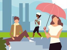 pessoas na rua sentadas caminhando atividade ao ar livre vetor