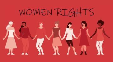 mulheres de todo o mundo, feministas de direitos vetor