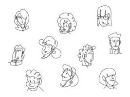 conjunto de ícones enfrenta homens e mulheres linha contínua, design isolado vetor