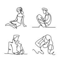 estilo de linha contínua de ícones de personagens masculinos e femininos vetor