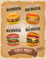 Menu de hambúrguer grunge e vintage