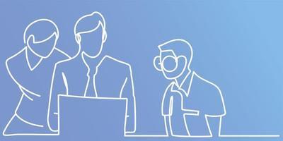 trabalho em equipe procurando laptop, estilo de linha contínua de fundo azul vetor