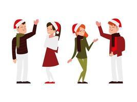 Natal pessoas com chapéu de Papai Noel comemorando a festa da temporada vetor