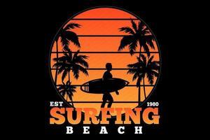 t-shirt surf praia pôr do sol estilo retro vetor