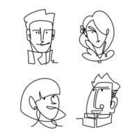 conjunto de ícones enfrenta pessoas linha contínua, design isolado vetor