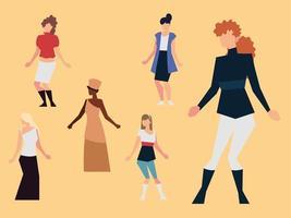 mulheres direitos feministas grupo feminino nacionalidade diferente vetor