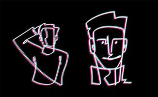 rosto de homem e linha contínua de retrato, fundo preto de desenho isolado vetor