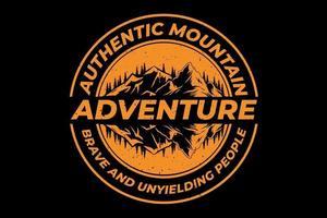 t-shirt autêntica aventura na montanha com design vintage vetor