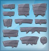 Bolhas de discurso de pedra dos desenhos animados para jogo de interface do usuário