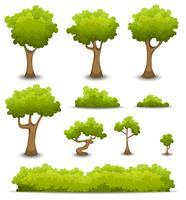 Árvores da floresta, sebes e conjunto de Bush