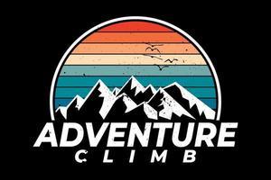 t-shirt aventura escalada montanha estilo retro vetor