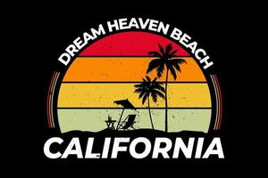 t-shirt california sonho céu praia retro estilo vetor