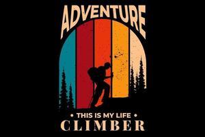 t-shirt aventura alpinista pinheiro estilo vintage vetor
