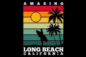 camiseta incrível design retro de long beach califórnia vetor