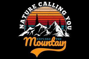 camiseta explore a natureza da montanha chamando você de estilo retro vetor