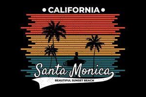 t-shirt califórnia praia santa monica pôr do sol estilo retro vetor