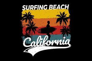 t-shirt surf na praia design retro califórnia vetor