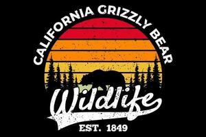 t-shirt vida selvagem urso cinzento da califórnia estilo retro vetor