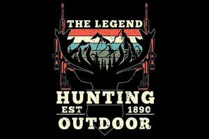 t-shirt caça cervo outdoor lenda estilo retro vintage vetor