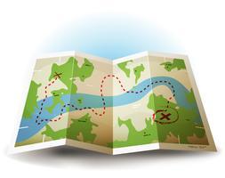 Ícone de mapa de terra dos desenhos animados Grunge vetor