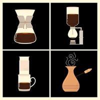 métodos de fabricação de café, diferentes maneiras de fazer uma bebida energética quente vetor
