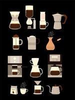 métodos de fabricação de café, diferentes processos alternativos de fabricação de café e xícaras vetor
