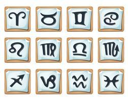 Conjunto de sinais e ícones do Zodíaco
