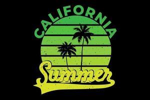t-shirt verão califórnia lindo design gradiente vetor