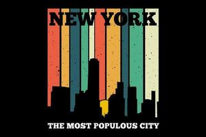 t-shirt new york retro estilo vetor