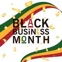 mês de negócios preto com desenho de vetor de fita verde amarela e vermelha