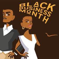 mês de negócios preto com desenho vetorial de desenhos animados de homem e mulher afro vetor