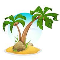 Ilha tropical com palmeiras vetor