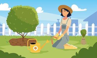desenho vetorial de jardineiro com alicate e regador vetor