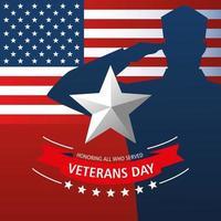 feliz dia dos veteranos, estrela do personagem militar e bandeira americana vetor