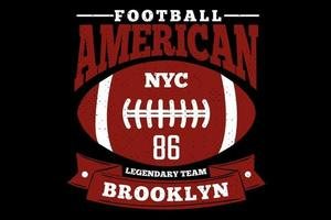 t-shirt tipografia futebol americano brooklyn estilo vintage vetor