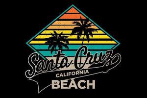 t-shirt santa cruz califórnia praia estilo retro vetor