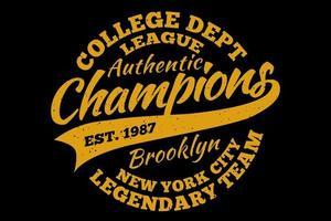 t-shirt tipografia campeões time lendário do brooklyn estilo vintage vetor